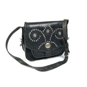 Vintage Black Tooled Leather Boho Western Bag